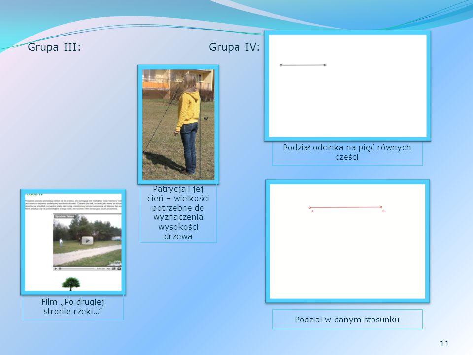 11 Grupa III:Grupa IV: Podział odcinka na pięć równych części Podział w danym stosunku