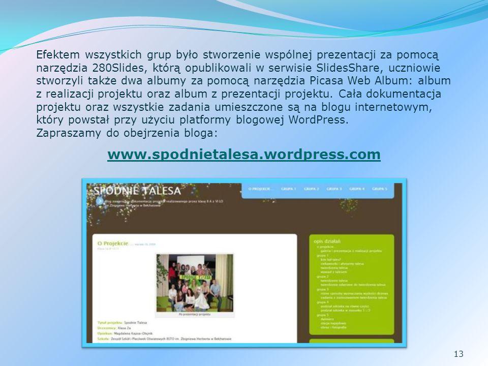 13 Efektem wszystkich grup było stworzenie wspólnej prezentacji za pomocą narzędzia 280Slides, którą opublikowali w serwisie SlidesShare, uczniowie stworzyli także dwa albumy za pomocą narzędzia Picasa Web Album: album z realizacji projektu oraz album z prezentacji projektu.