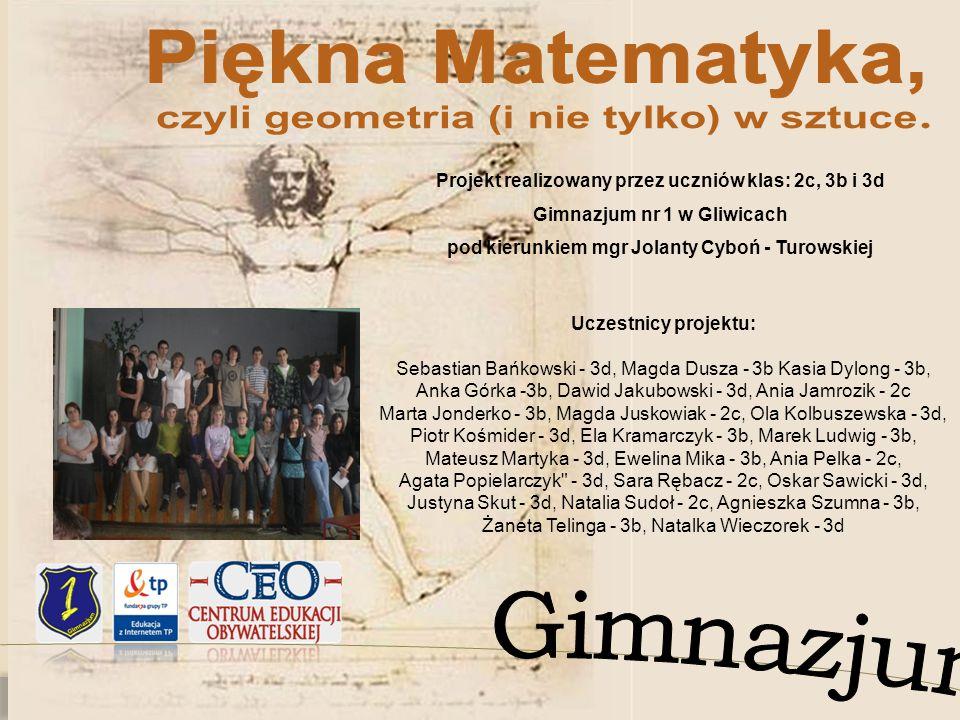 Projekt realizowany przez uczniów klas: 2c, 3b i 3d Gimnazjum nr 1 w Gliwicach pod kierunkiem mgr Jolanty Cyboń - Turowskiej Uczestnicy projektu: Seba