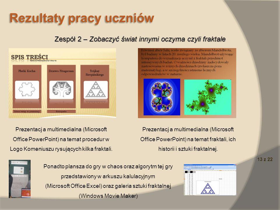 13 z 22 Rezultaty pracy uczniów Zespół 2 – Zobaczyć świat innymi oczyma czyli fraktale Prezentacj a multimedialna (Microsoft Office PowerPoint) na tem