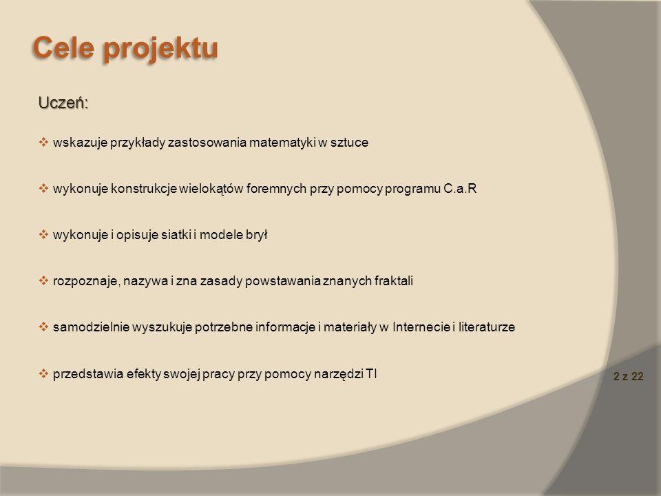 13 z 22 Rezultaty pracy uczniów Zespół 2 – Zobaczyć świat innymi oczyma czyli fraktale Prezentacj a multimedialna (Microsoft Office PowerPoint) na temat procedur w Logo Komeniuszu rysujących kilka fraktali.