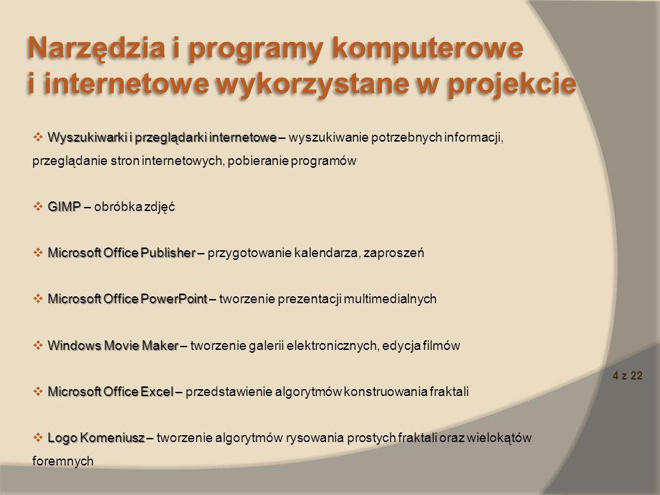 5 z 22 Narzędzia i programy komputerowe i internetowe wykorzystane w projekcie Narzędzia i programy komputerowe i internetowe wykorzystane w projekcie C.