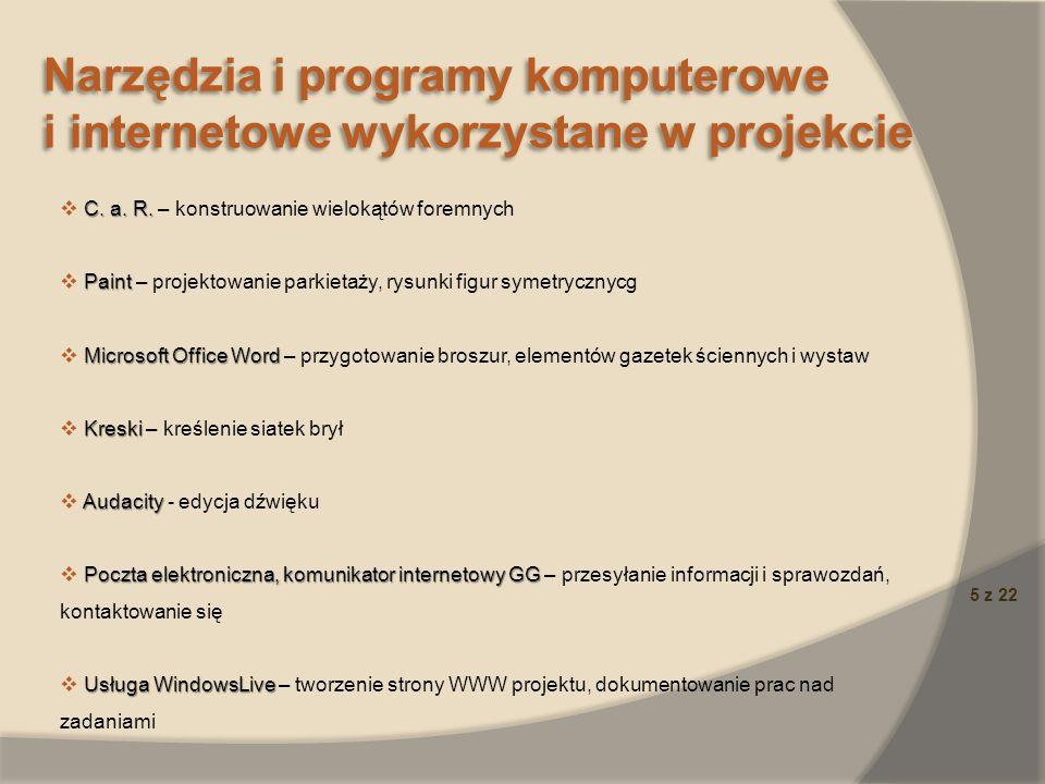 5 z 22 Narzędzia i programy komputerowe i internetowe wykorzystane w projekcie Narzędzia i programy komputerowe i internetowe wykorzystane w projekcie