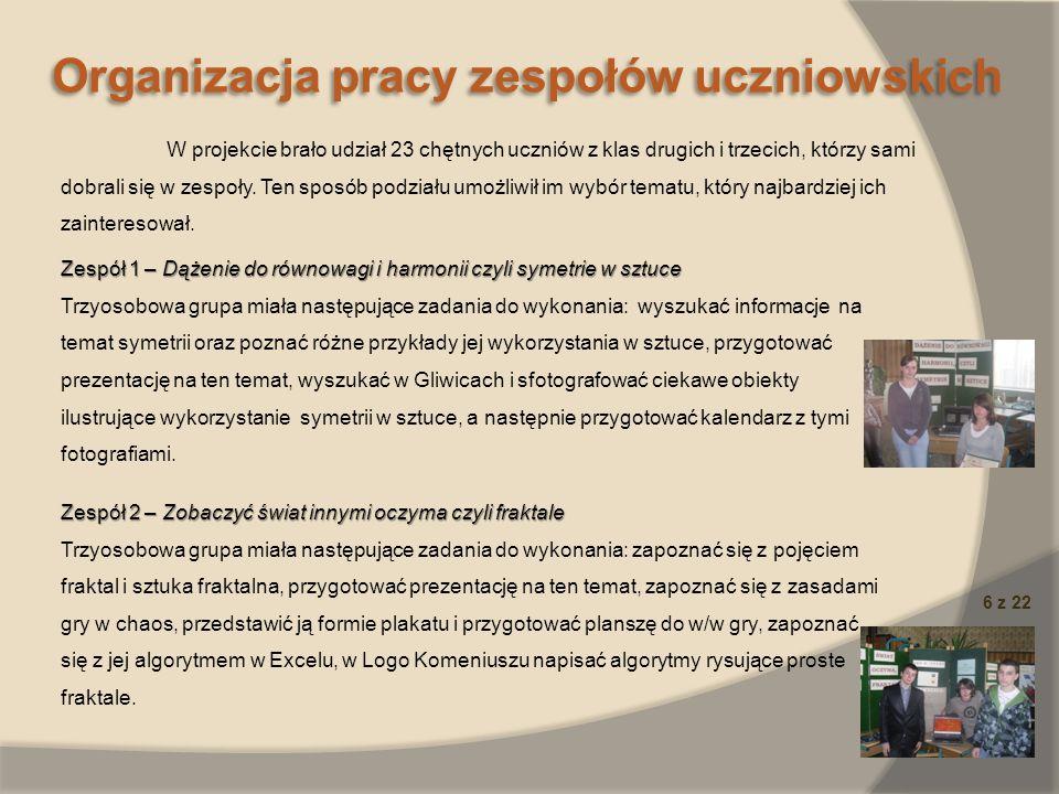 Organizacja pracy zespołów uczniowskich 6 z 22 Zespół 1 – Dążenie do równowagi i harmonii czyli symetrie w sztuce Trzyosobowa grupa miała następujące