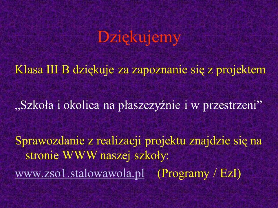 """Dziękujemy Klasa III B dziękuje za zapoznanie się z projektem """"Szkoła i okolica na płaszczyźnie i w przestrzeni Sprawozdanie z realizacji projektu znajdzie się na stronie WWW naszej szkoły: www.zso1.stalowawola.plwww.zso1.stalowawola.pl (Programy / EzI)"""