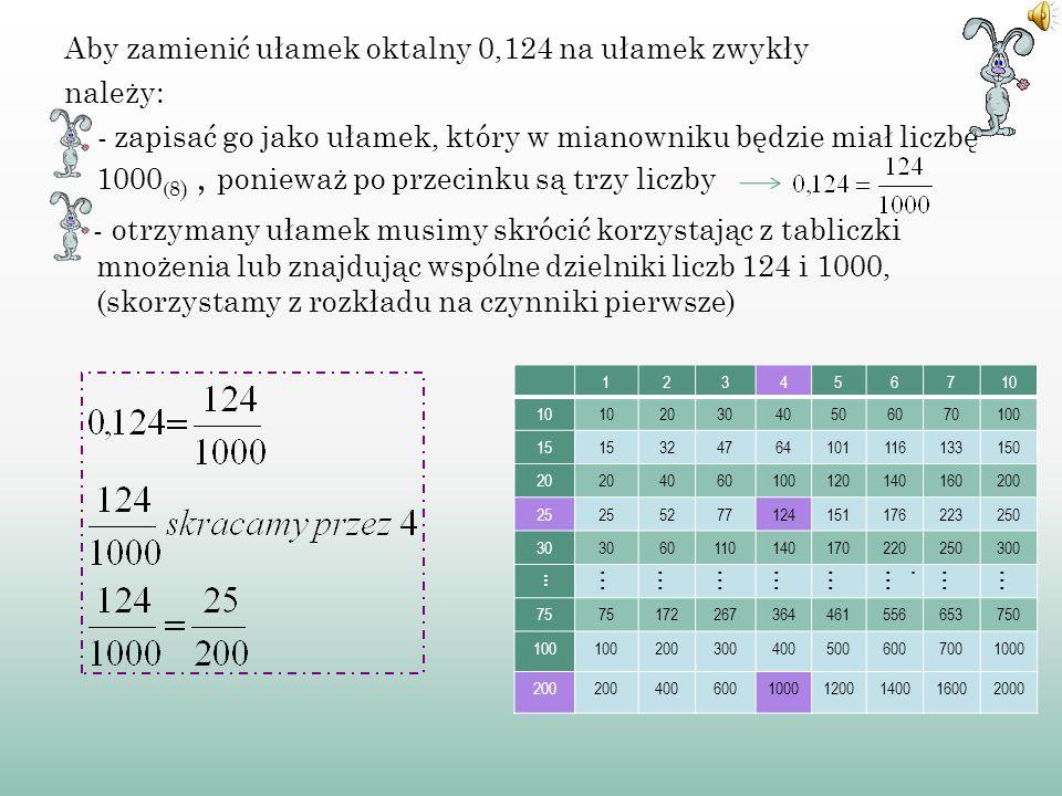 A) Z AMIANA ROZWINIĘĆ SKOŃCZONYCH Przykład takiego ułamka oktalnego to 0,2. Należy zapisać ten ułamek w postaci ułamka zwykłego, a następnie skrócić.