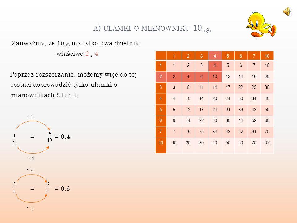 Aby zamienić ułamek oktalny 0,124 na ułamek zwykły należy: - zapisać go jako ułamek, który w mianowniku będzie miał liczbę 1000 (8 ), ponieważ po przecinku są trzy liczby - otrzymany ułamek musimy skrócić korzystając z tabliczki mnożenia lub znajdując wspólne dzielniki liczb 124 i 1000, (skorzystamy z rozkładu na czynniki pierwsze) 123456710 203040506070100 15 324764101116133150 20 4060100120140160200 25 5277124151176223250 30 60110140170220250300...