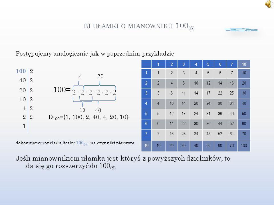 B ) UŁAMKI O MIANOWNIKU 100 (8) Postępujemy analogicznie jak w poprzednim przykładzie 100 2 40 2 20 2 100= 10 2 4 2 2 2 D 100 ={1, 100, 2, 40, 4, 20, 10} 1 dokonujemy rozkładu liczby 1 00 (8) na czynniki pierwsze Jeśli mianownikiem ułamka jest któryś z powyższych dzielników, to da się go rozszerzyć do 100 (8) 123456710 11234567 2246 12141620 336111417222530 4410142024303440 5512172431364350 6614223036445260 7716253443526170 10 203040506070100