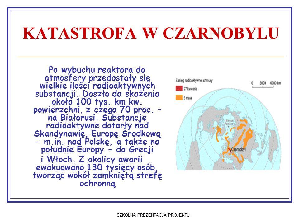 SZKOLNA PREZENTACJA PROJEKTU KATASTROFA W CZARNOBYLU Po wybuchu reaktora do atmosfery przedostały się wielkie ilości radioaktywnych substancji. Doszło