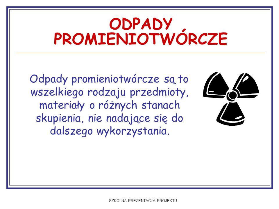SZKOLNA PREZENTACJA PROJEKTU ODPADY PROMIENIOTWÓRCZE Odpady promieniotwórcze są to wszelkiego rodzaju przedmioty, materiały o różnych stanach skupienia, nie nadające się do dalszego wykorzystania.
