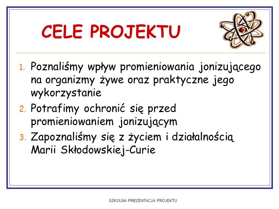 SZKOLNA PREZENTACJA PROJEKTU Maria Skłodowska-Curie Jest bez wątpienia najwybitniejszą osobistością w dziedzinie fizyki i chemii w Polsce.