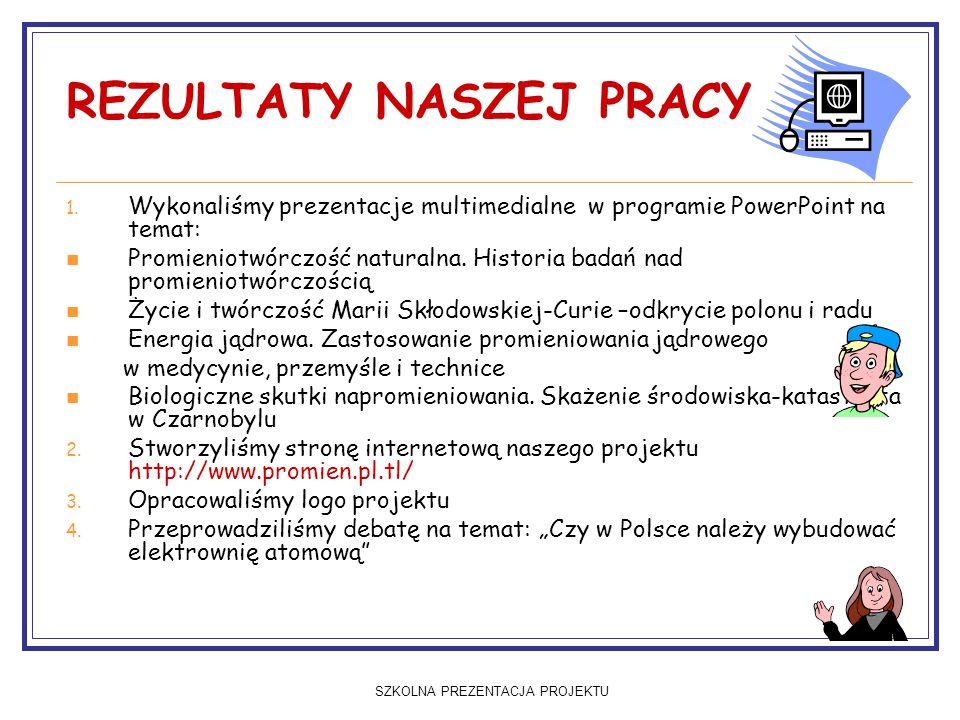 SZKOLNA PREZENTACJA PROJEKTU REZULTATY NASZEJ PRACY 1.