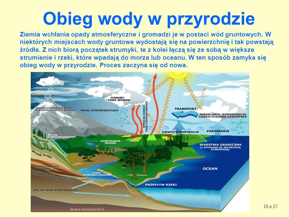 9 Obieg wody w przyrodzie Chmury, niesione wiatrem przemieszczają się nad powierzchnią lądów mórz i oceanów. W określonych warunkach drobniutkie krope