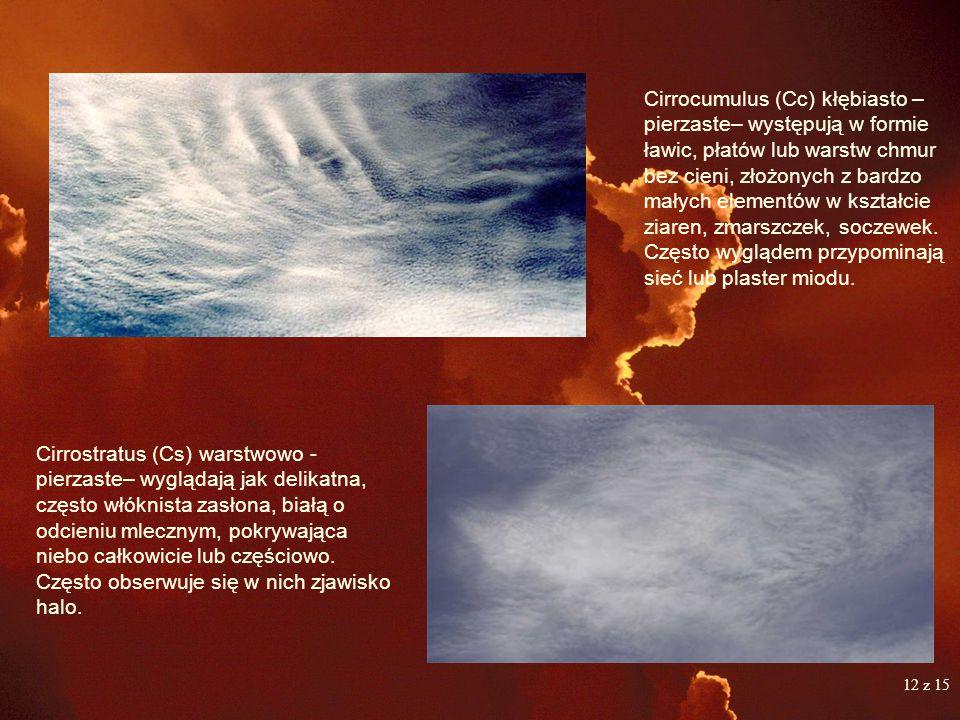 CHMURY PIĘTRA WYSOKIEGO Chmury prawie wyłącznie zbudowane są z kryształków lodów. Występują w najwyższej a zarazem najchłodniejszej części troposfery.