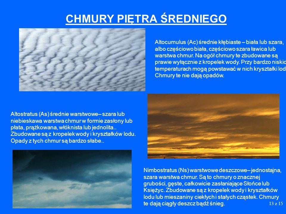 12 Cirrocumulus (Cc) kłębiasto – pierzaste– występują w formie ławic, płatów lub warstw chmur bez cieni, złożonych z bardzo małych elementów w kształc