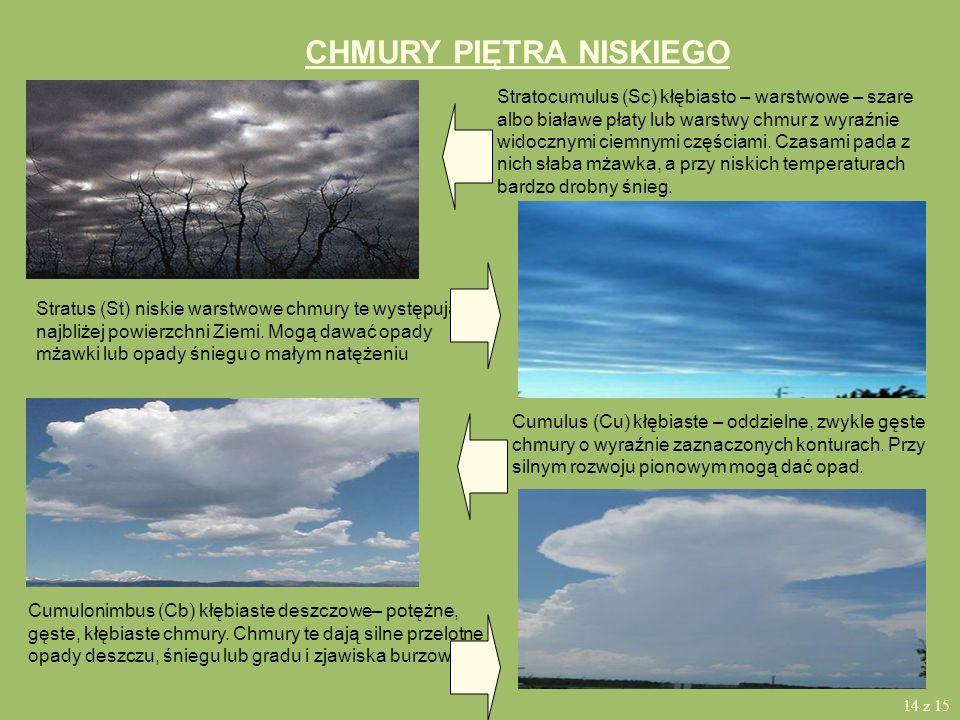 CHMURY PIĘTRA ŚREDNIEGO Altocumulus (Ac) średnie kłębiaste – biała lub szara, albo częściowo biała, częściowo szara ławica lub warstwa chmur. Na ogół