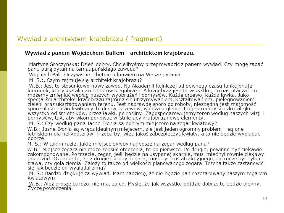 11 Opis działań: list do Parku Zdrojowego w Ciechocinku.