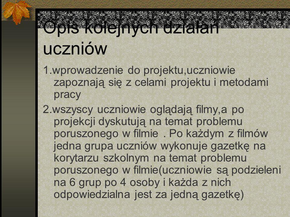 Opis kolejnych działań uczniów 1.wprowadzenie do projektu,uczniowie zapoznają się z celami projektu i metodami pracy 2.wszyscy uczniowie oglądają filmy,a po projekcji dyskutują na temat problemu poruszonego w filmie.