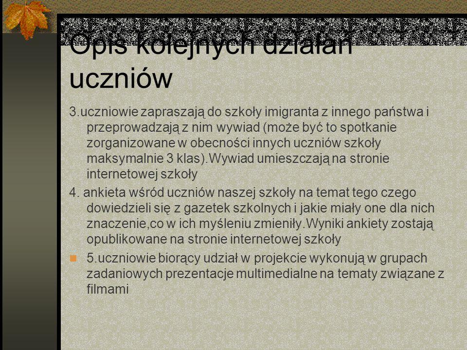 Rezultaty pracy uczniów Przepięknie wykonane gazetki szkolne Sześć prezentacji multimedialnych Piękny i mądry wywiad z człowiekiem,który musiał uciekać z własnego kraju i mógł osiedlić się w Polsce
