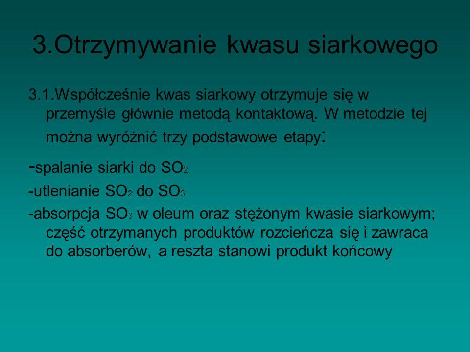3.Otrzymywanie kwasu siarkowego 3.1.Współcześnie kwas siarkowy otrzymuje się w przemyśle głównie metodą kontaktową. W metodzie tej można wyróżnić trzy