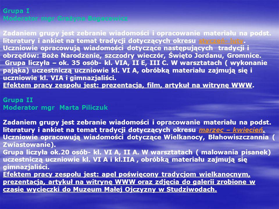 Grupa I Moderator mgr Grażyna Bogacewicz Zadaniem grupy jest zebranie wiadomości i opracowanie materiału na podst. literatury i ankiet na temat tradyc