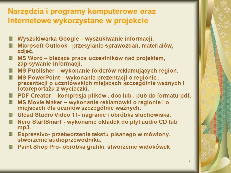 4 Narzędzia i programy komputerowe oraz internetowe wykorzystane w projekcie Wyszukiwarka Google – wyszukiwanie informacji.