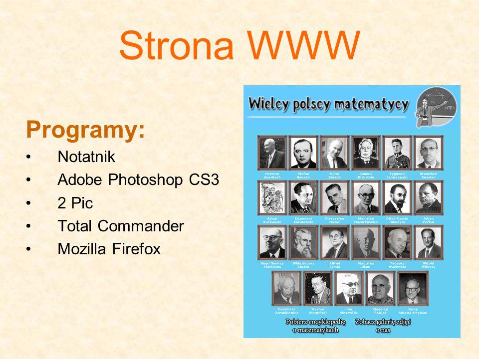 Strona WWW Programy: Notatnik Adobe Photoshop CS3 2 Pic Total Commander Mozilla Firefox