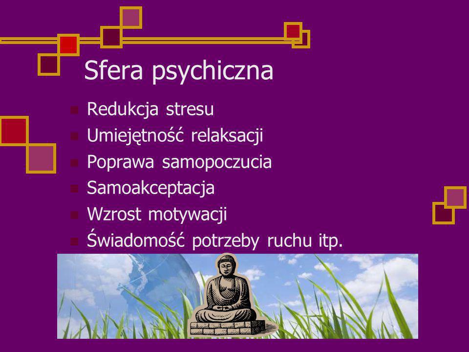 Sfera psychiczna Redukcja stresu Umiejętność relaksacji Poprawa samopoczucia Samoakceptacja Wzrost motywacji Świadomość potrzeby ruchu itp.