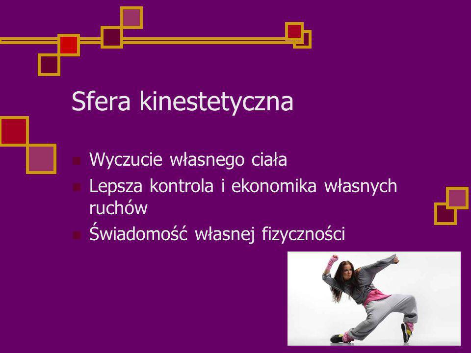 Sfera kinestetyczna Wyczucie własnego ciała Lepsza kontrola i ekonomika własnych ruchów Świadomość własnej fizyczności
