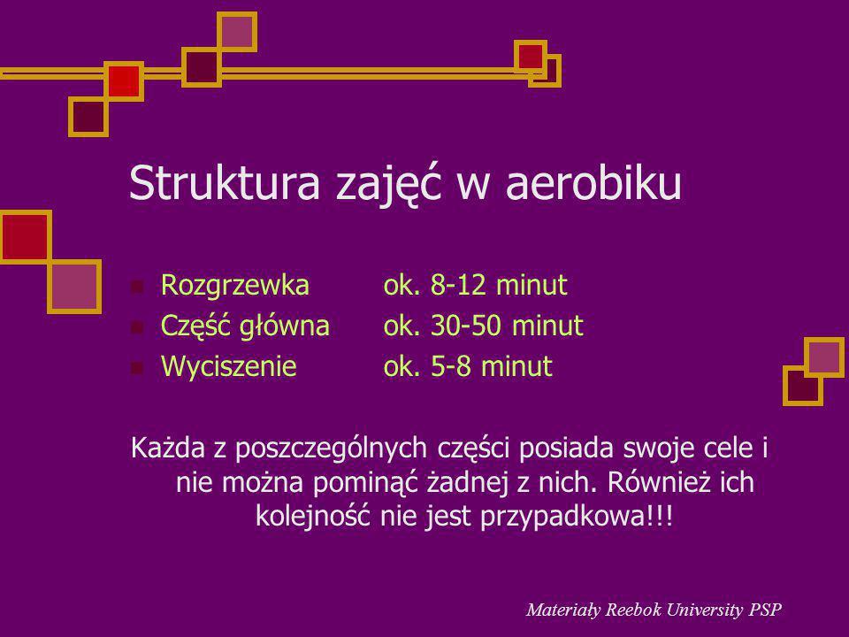 Struktura zajęć w aerobiku Rozgrzewka ok. 8-12 minut Część główna ok. 30-50 minut Wyciszenie ok. 5-8 minut Każda z poszczególnych części posiada swoje