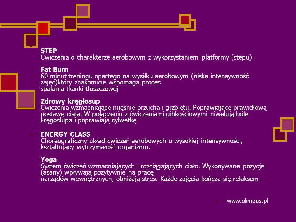 STEP Ćwiczenia o charakterze aerobowym z wykorzystaniem platformy (stepu) Fat Burn 60 minut treningu opartego na wysiłku aerobowym (niska intensywność