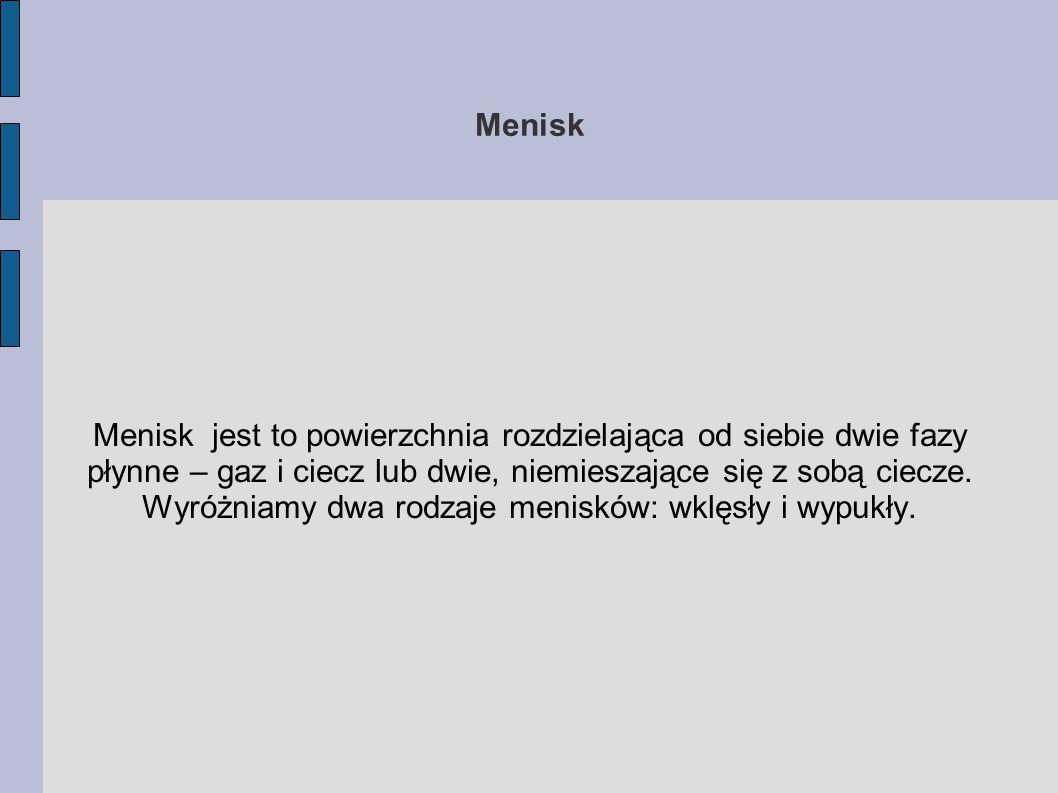 Menisk Menisk jest to powierzchnia rozdzielająca od siebie dwie fazy płynne – gaz i ciecz lub dwie, niemieszające się z sobą ciecze. Wyróżniamy dwa ro