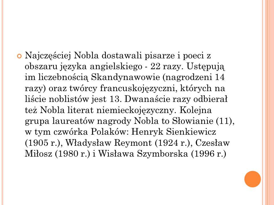 Najczęściej Nobla dostawali pisarze i poeci z obszaru języka angielskiego - 22 razy. Ustępują im liczebnością Skandynawowie (nagrodzeni 14 razy) oraz