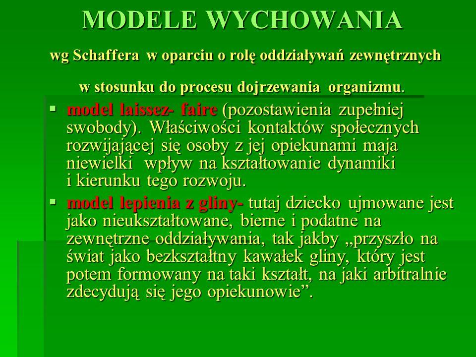 MODELE WYCHOWANIA wg Schaffera w oparciu o rolę oddziaływań zewnętrznych w stosunku do procesu dojrzewania organizmu.  model laissez- faire (pozostaw