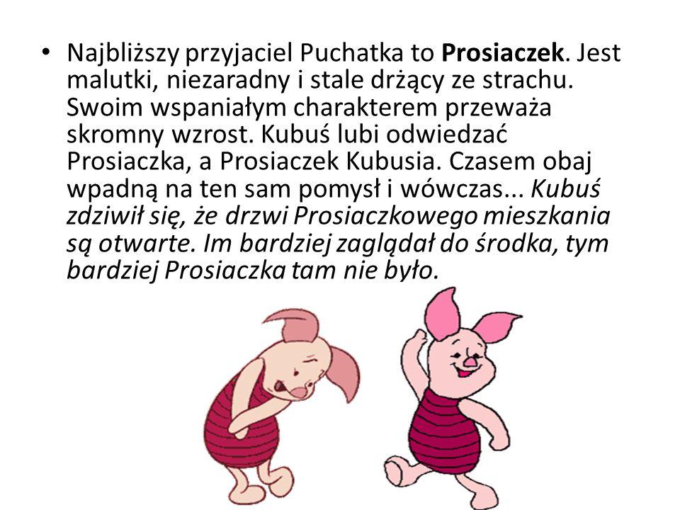 Najbliższy przyjaciel Puchatka to Prosiaczek. Jest malutki, niezaradny i stale drżący ze strachu. Swoim wspaniałym charakterem przeważa skromny wzrost
