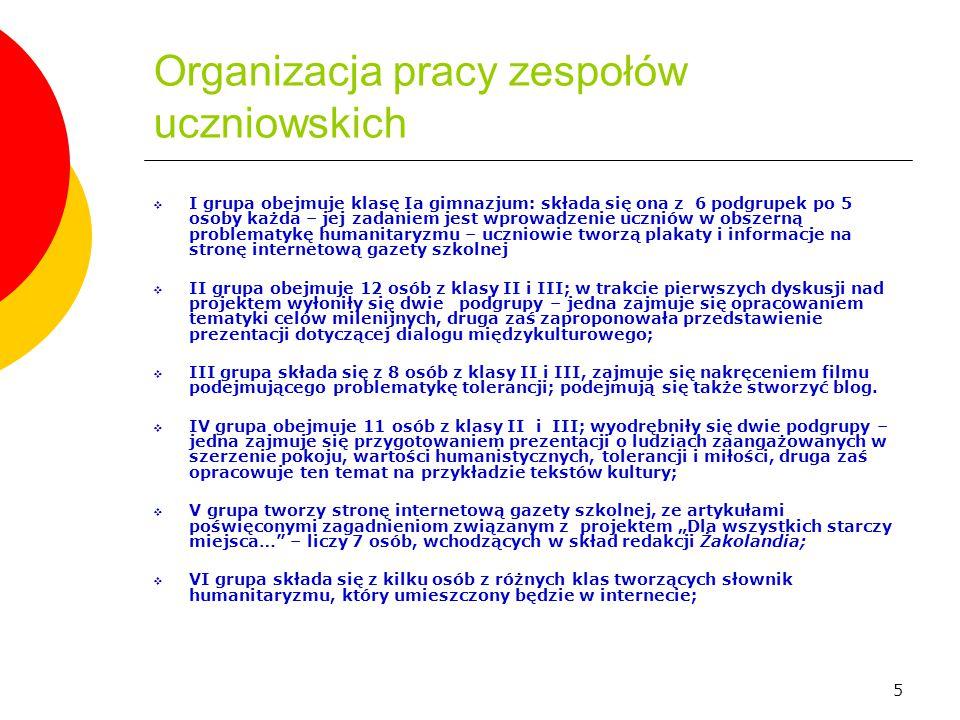 5 Organizacja pracy zespołów uczniowskich  I grupa obejmuje klasę Ia gimnazjum: składa się ona z 6 podgrupek po 5 osoby każda – jej zadaniem jest wpr
