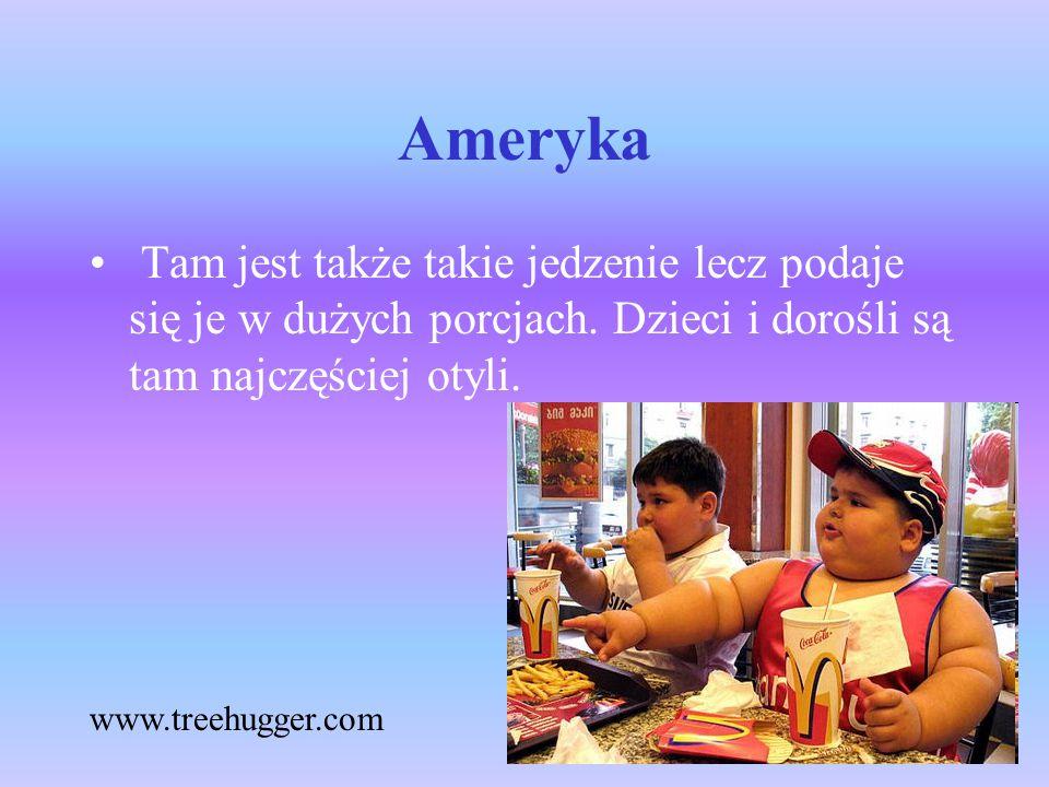 Ameryka Tam jest także takie jedzenie lecz podaje się je w dużych porcjach. Dzieci i dorośli są tam najczęściej otyli. www.treehugger.com