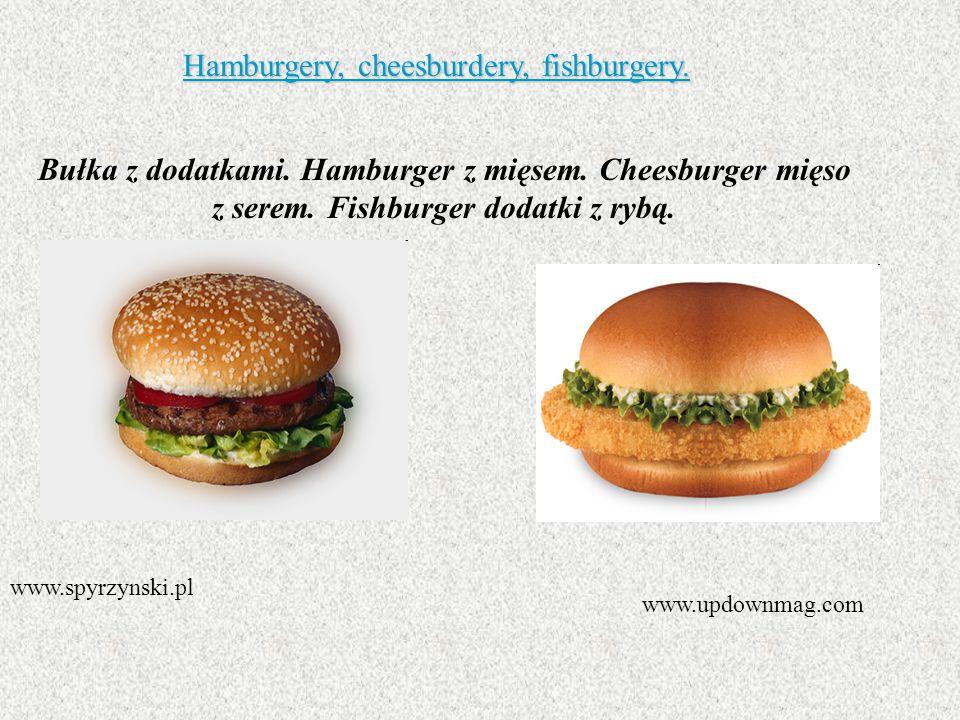 Hamburgery, cheesburdery, fishburgery. Bułka z dodatkami. Hamburger z mięsem. Cheesburger mięso z serem. Fishburger dodatki z rybą. www.spyrzynski.pl