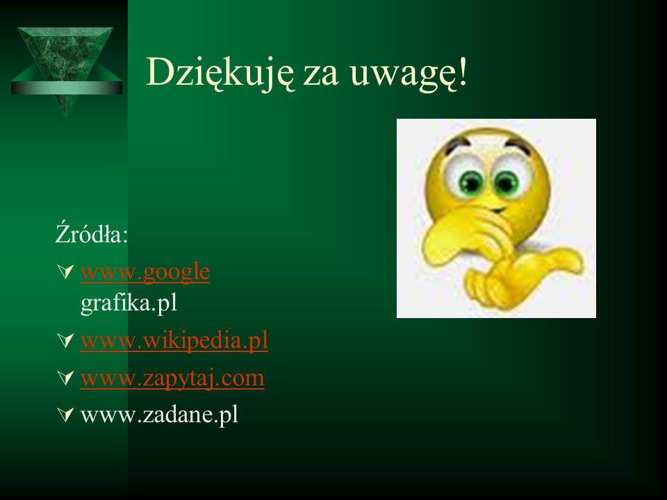 Dziękuję za uwagę! Źródła:  www.google grafika.pl www.google  www.wikipedia.pl www.wikipedia.pl  www.zapytaj.com www.zapytaj.com  www.zadane.pl