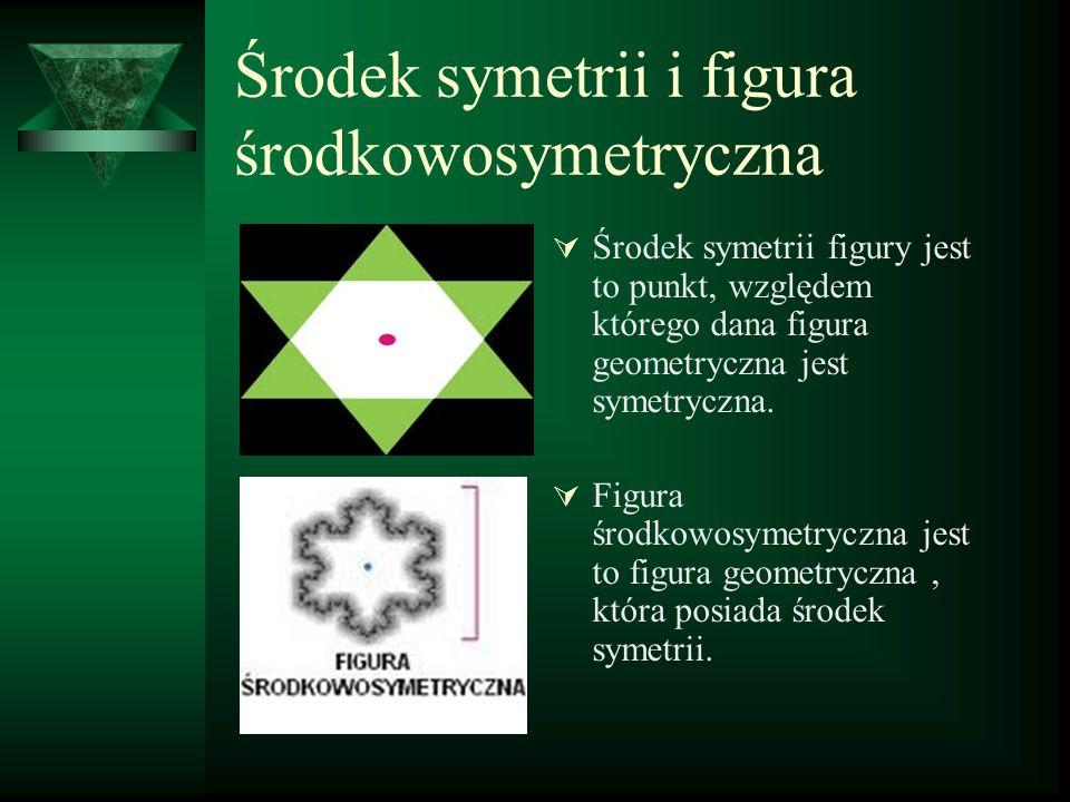 Środek symetrii i figura środkowosymetryczna  Środek symetrii figury jest to punkt, względem którego dana figura geometryczna jest symetryczna.  Fig