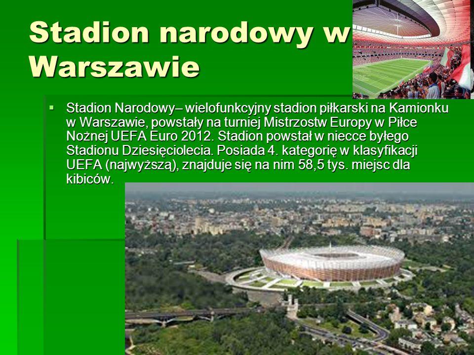 Stadion narodowy w Warszawie  Stadion Narodowy– wielofunkcyjny stadion piłkarski na Kamionku w Warszawie, powstały na turniej Mistrzostw Europy w Pił