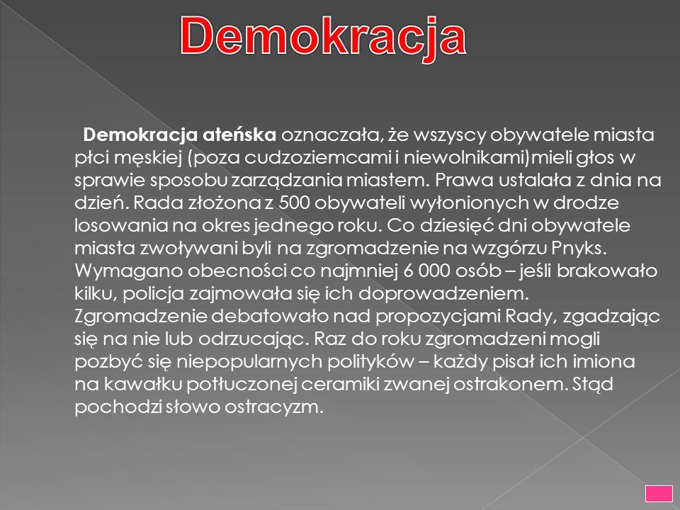 Demokracja ateńska oznaczała, że wszyscy obywatele miasta płci męskiej (poza cudzoziemcami i niewolnikami)mieli głos w sprawie sposobu zarządzania mia