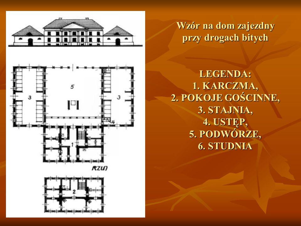 Wzór na dom zajezdny przy drogach bitych LEGENDA: 1.