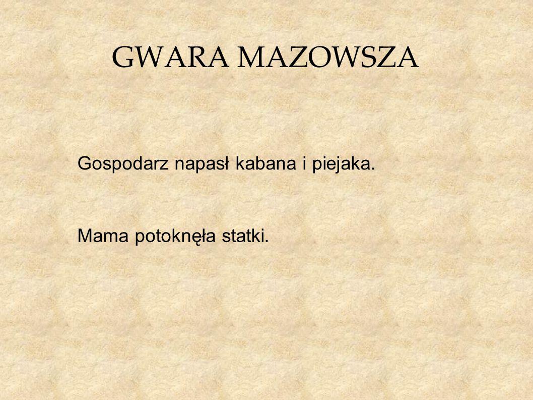 GWARA MAZOWSZA Gospodarz napasł kabana i piejaka. Mama potoknęła statki.