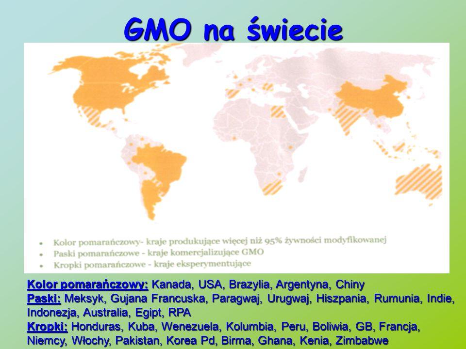 GMO na świecie Kolor pomarańczowy: Kanada, USA, Brazylia, Argentyna, Chiny Paski:Meksyk, Gujana Francuska, Paragwaj, Urugwaj, Hiszpania, Rumunia, Indie, Indonezja, Australia, Egipt, RPA Paski: Meksyk, Gujana Francuska, Paragwaj, Urugwaj, Hiszpania, Rumunia, Indie, Indonezja, Australia, Egipt, RPA Kropki:Honduras, Kuba, Wenezuela, Kolumbia, Peru, Boliwia, GB, Francja, Niemcy, Włochy, Pakistan, Korea Pd, Birma, Ghana, Kenia, Zimbabwe Kropki: Honduras, Kuba, Wenezuela, Kolumbia, Peru, Boliwia, GB, Francja, Niemcy, Włochy, Pakistan, Korea Pd, Birma, Ghana, Kenia, Zimbabwe