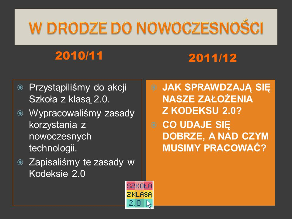 2010/11 2011/12  Przystąpiliśmy do akcji Szkoła z klasą 2.0.  Wypracowaliśmy zasady korzystania z nowoczesnych technologii.  Zapisaliśmy te zasady