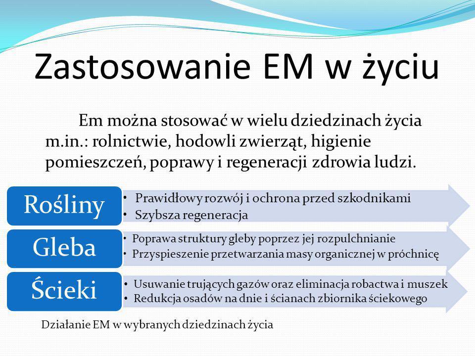 Działanie ogólne Efektywnych Mikroorganizmów Do najważniejszych zadań EM należy : Likwidacja odorów.