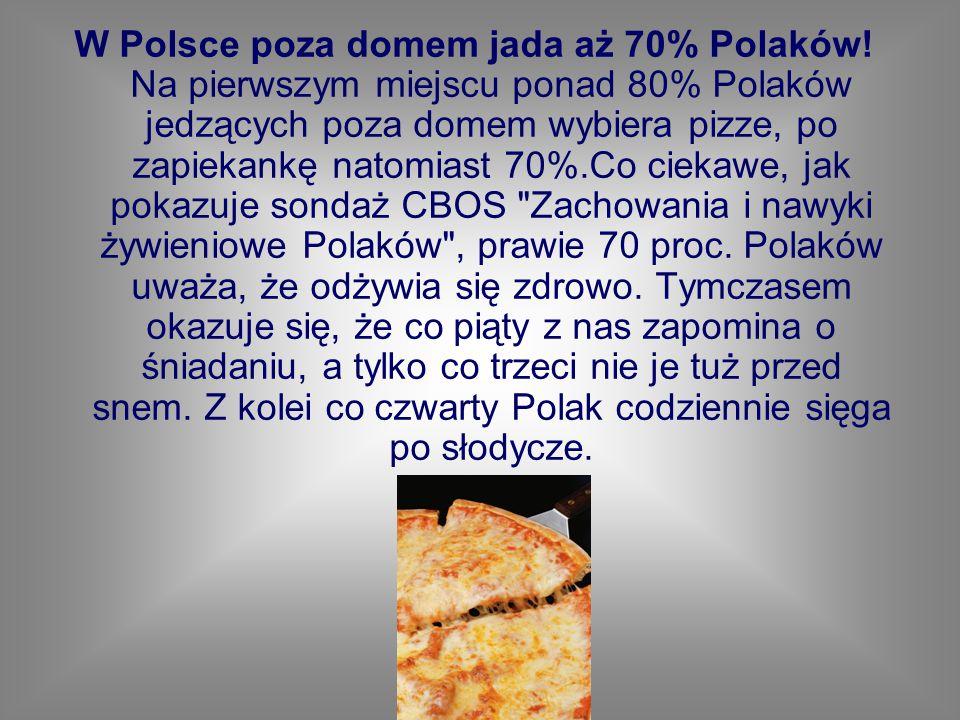 W Polsce poza domem jada aż 70% Polaków! Na pierwszym miejscu ponad 80% Polaków jedzących poza domem wybiera pizze, po zapiekankę natomiast 70%.Co cie