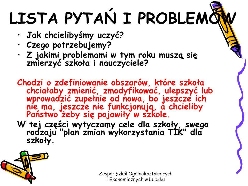 Zespół Szkół Ogólnokształcących i Ekonomicznych w Lubsku LISTA PYTAŃ I PROBLEMÓW Jak chcielibyśmy uczyć.