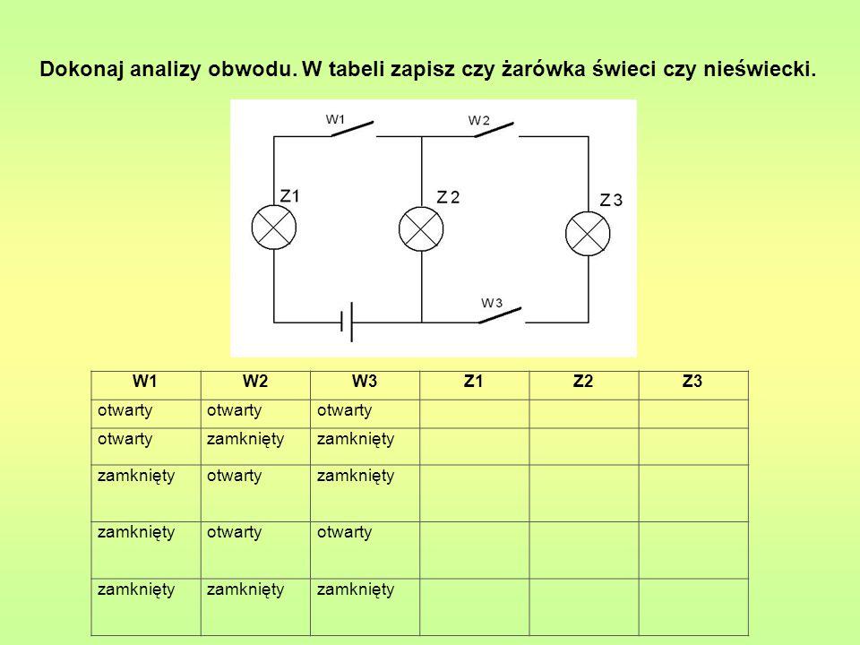 Dokonaj analizy obwodu. W tabeli zapisz czy żarówka świeci czy nieświecki. W1W2W3Z1Z2Z3 otwarty zamknięty otwartyzamknięty otwarty zamknięty